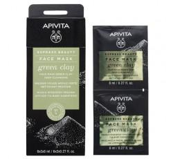 Apivita Express Beauty Máscara De Limpeza Profunda De Argila Verde 2X8mL