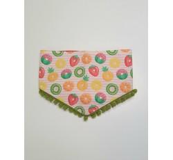 Bandana de nó Frutas com Pom Pom Verde XS