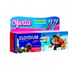 Elgydium Gel Dentífrico Frescura Morango 50 mL + Escova Dentes Idade Gelo